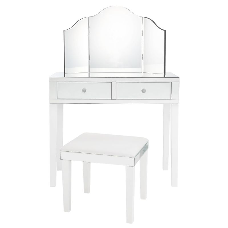 Milano Modern Contemporary 3-Piece Vanity Set with Trifold Mirror-White-Daily Steals