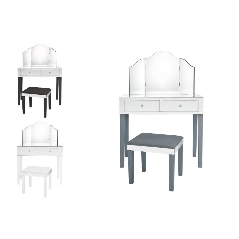 Milano Modern Contemporary 3-Piece Vanity Set with Trifold Mirror-Daily Steals