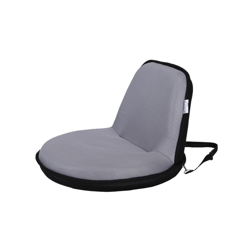 Loungie Quickchair Indoor/Outdoor Portable Foldable Mesh Floor Chair-Light Grey/Black-Daily Steals