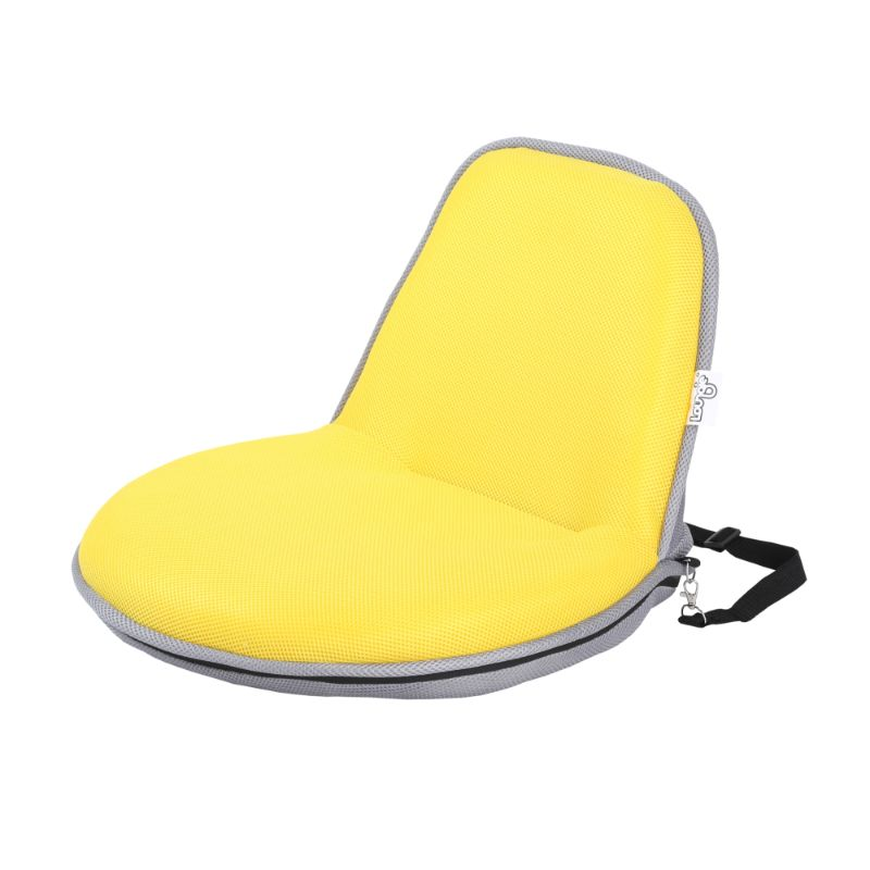Loungie Quickchair Indoor/Outdoor Portable Foldable Mesh Floor Chair-Yellow/Grey-Daily Steals