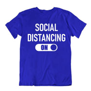 """Social Distancing: On"" T-Shirt-Royal Blue-S-Daily Steals"