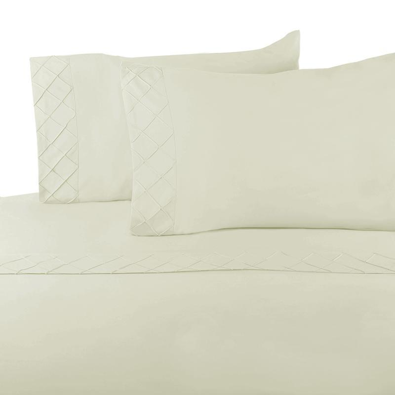 Forever Soft Collection Diamond Hem Ultra-Soft Sheet Set - Wrinkle-resistant-IVORY-FS TWIN-Daily Steals