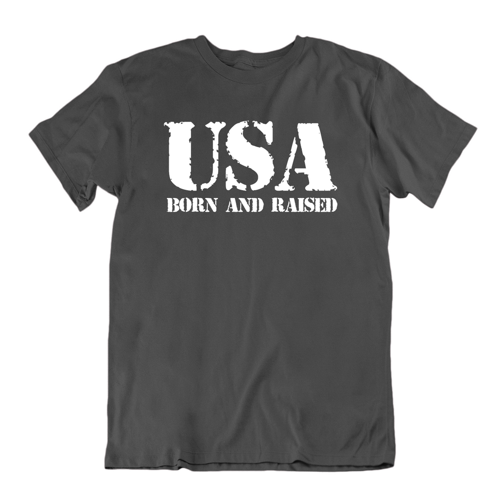 USA Born and Raised T Shirt-Charcoal-Medium-Daily Steals
