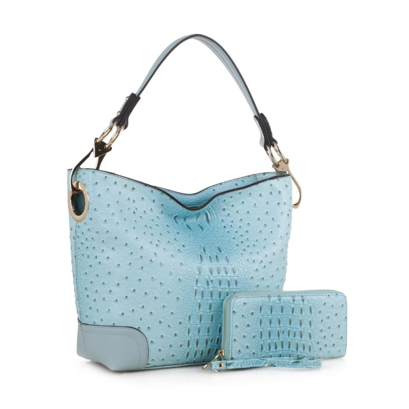 MKF Collection Wandy Hobo Sac à main et portefeuille assorti-Bleu clair-Daily Steals