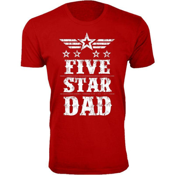 Men's Five Star Father's Day T-shirts-Dad - Red-S-Daily Steals