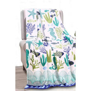 Noble House Printed Super Soft Microplush Throw Blanket-Ocean Coral-Daily Steals