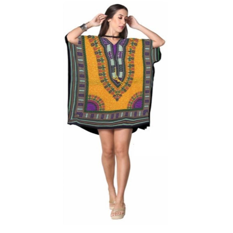 Kaftan Womens Boho Beach Dress Cover African - One Size, 4-24-Daily Steals