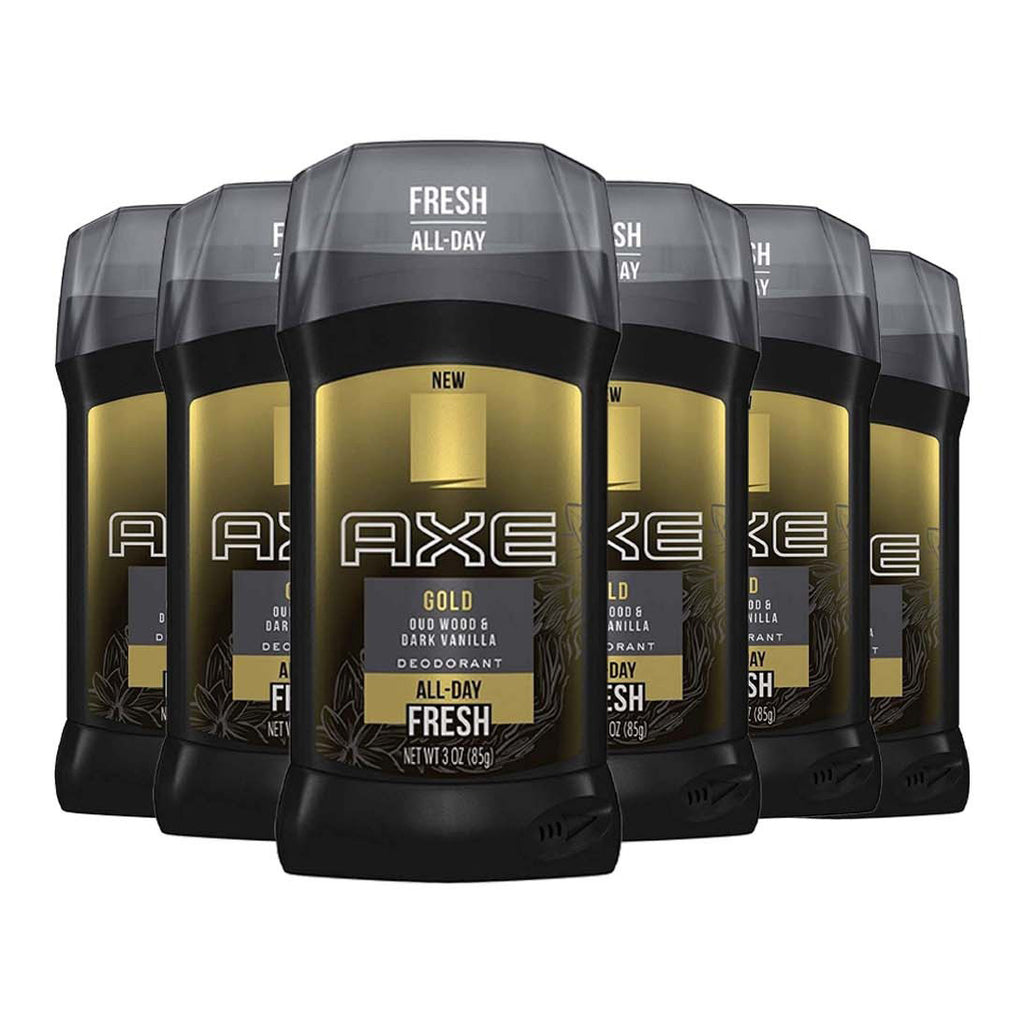 Axe Fresh All Day Gold Oud Wood + Dark Vanilla Deodorant Stick 2.7 oz - 6 Pack