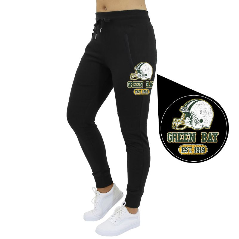 Women's Home Team Football Jogger Sweatpants-Green Bay - Black-S-Daily Steals