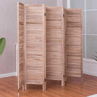 6 Panels Classic Venetian Brown Wooden Slat Room Screen-Daily Steals