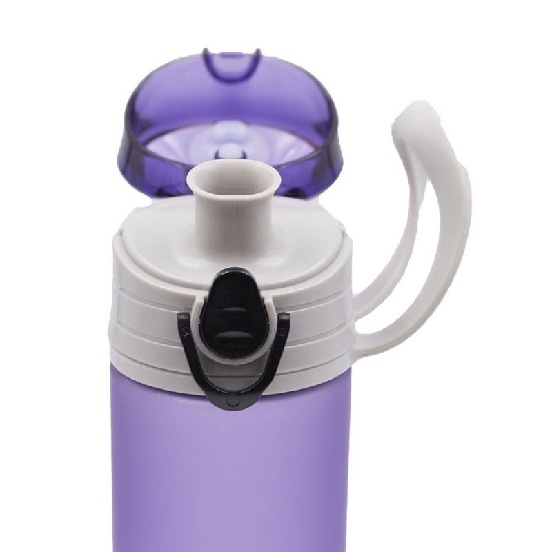 Shemtag Purple frosted water bottle 13.5oz with lid for sports & camping