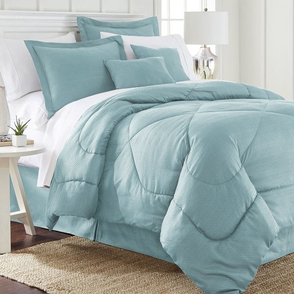 Ensemble de 6 pièces: Ensemble de couette en relief chevron-Aqua-Queen-Daily Steals