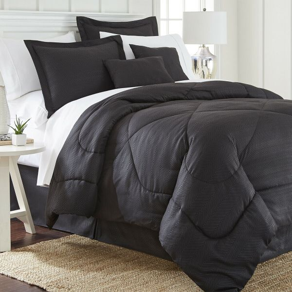 6 Piece Set: Chevron Embossed Comforter Set-Black-King-Daily Steals