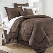 6 Piece Set: Chevron Embossed Comforter Set-Chocolate-Queen-Daily Steals