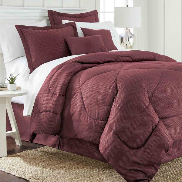 6 Piece Set: Chevron Embossed Comforter Set-Burgundy-Queen-Daily Steals