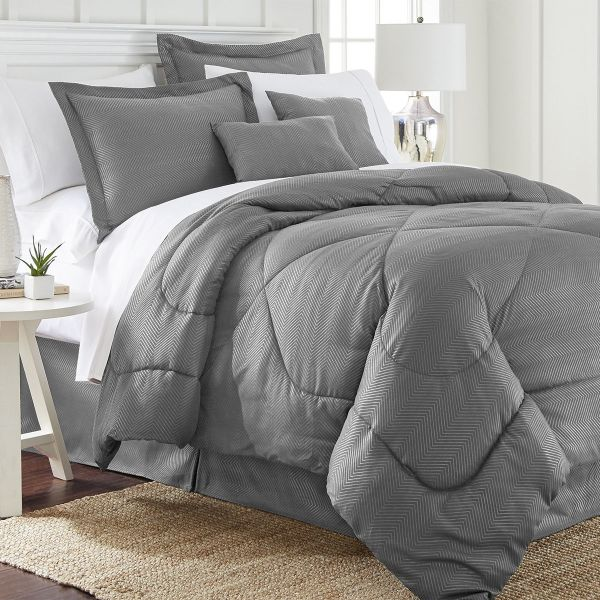 6 Piece Set: Chevron Embossed Comforter Set-Grey-Queen-Daily Steals