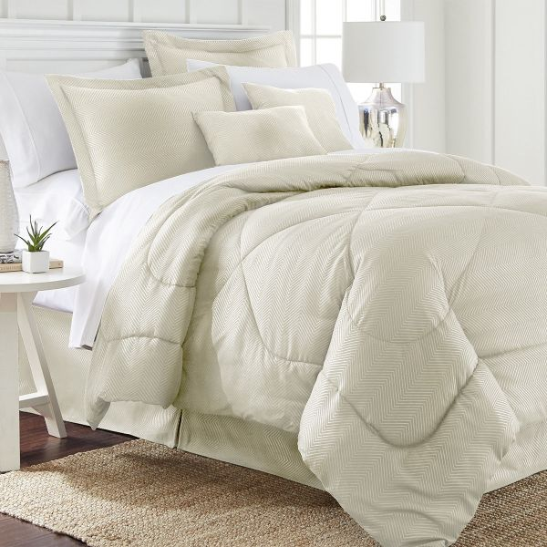 6 Piece Set: Chevron Embossed Comforter Set-Ivory-Queen-Daily Steals