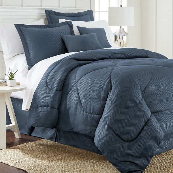 Ensemble de 6 pièces: Ensemble de couette en relief à chevrons-Navy-Queen-Daily Steals