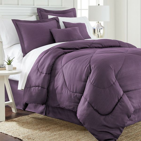 6 Piece Set: Chevron Embossed Comforter Set-Purple-King-Daily Steals