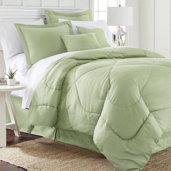 Ensemble de 6 pièces: Ensemble de douillette en relief chevron-Sage-Queen-Daily Steals