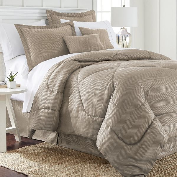Ensemble de 6 pièces: Ensemble de couette en relief à chevrons-Taupe-Queen-Daily Steals
