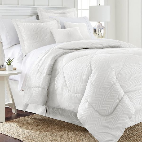 6 Piece Set: Chevron Embossed Comforter Set-White-Queen-Daily Steals