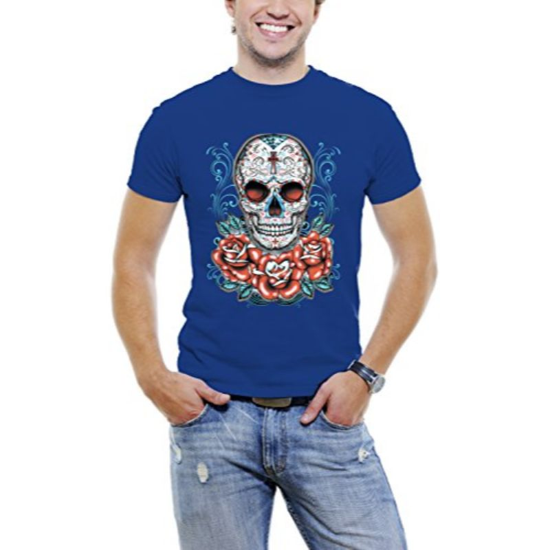 Skull Roses Tattoo - Men's T-Shirt-Royal Blue-L-Daily Steals