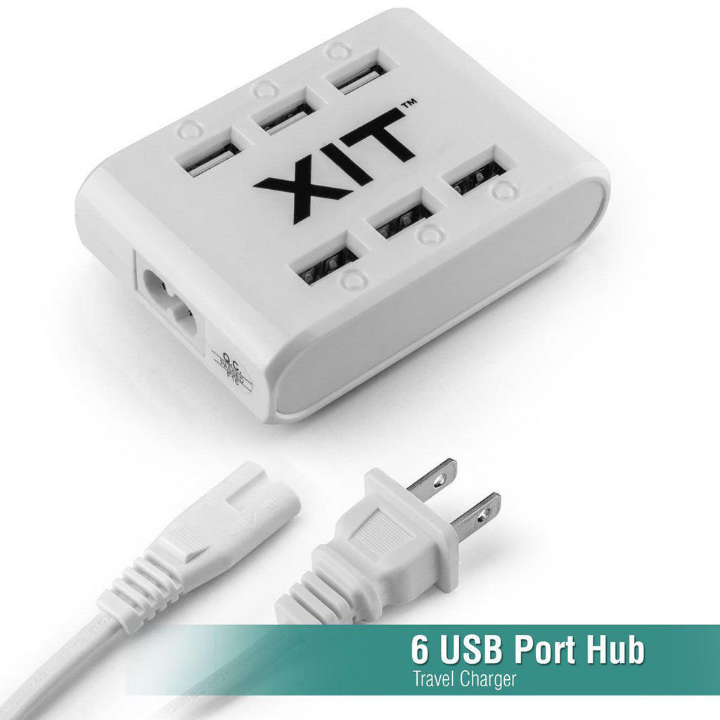 Daily Steals-6 USB Port Hub Travel Charger with Built-in Power-Spike Protection-Cell and Tablet Accessories-