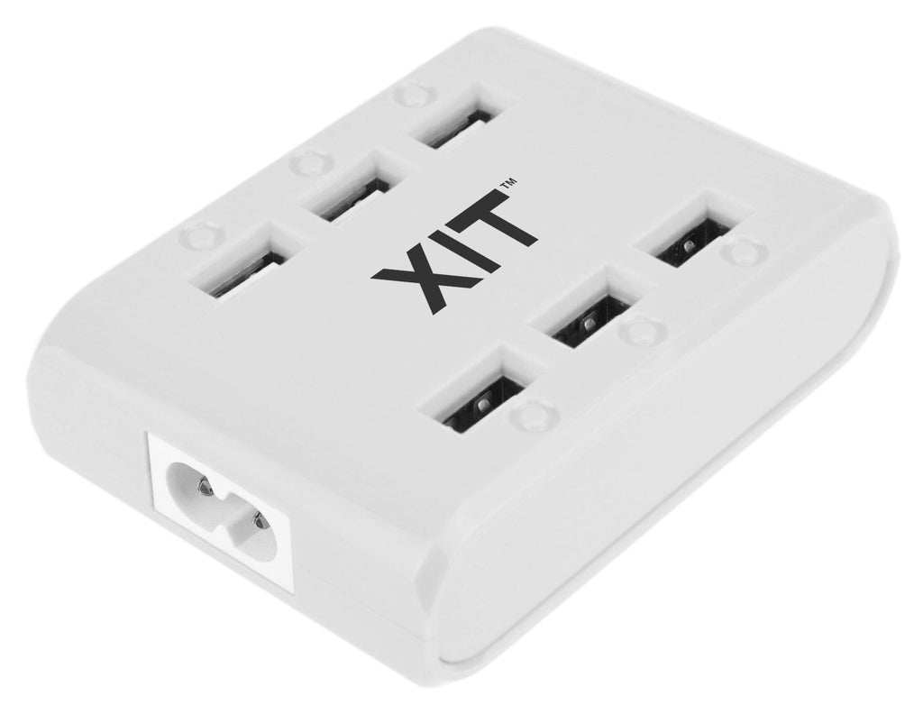 6 USB Port Hub Travel Charger with Built-in Power-Spike Protection-White-Daily Steals