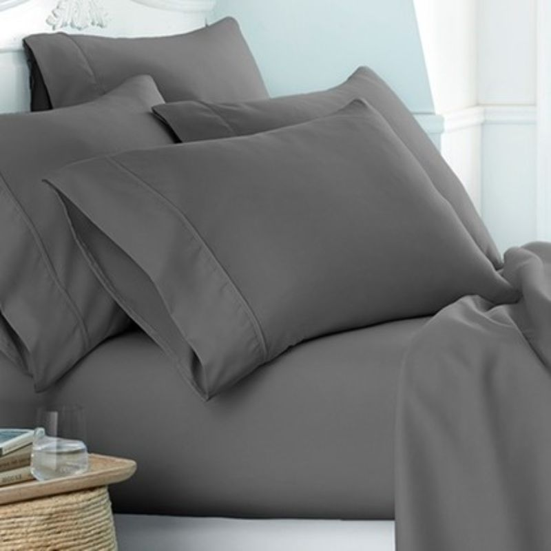 Microfiber Merit Linens Bed Sheets Sets - 6 Piece-Gray-Twin-Daily Steals