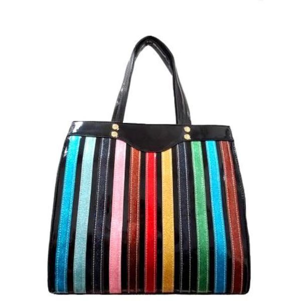 Colorful Stripe Satchel Handbag-Black-Daily Steals