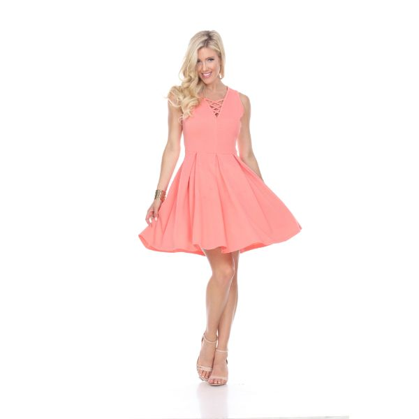 Shay' Fit & Flare Dress-Coral-S-Daily Steals