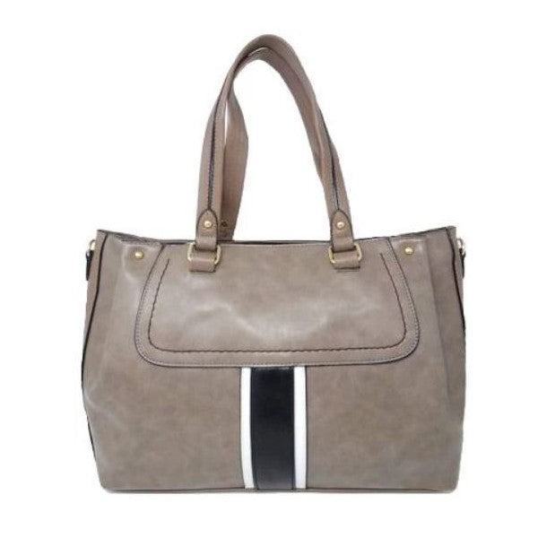 Vintage Striped Leather Tote Handbag-Grey-Daily Steals