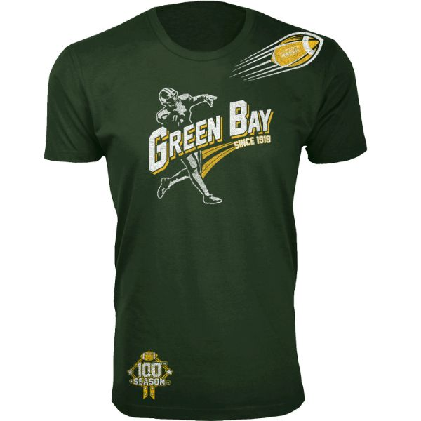 Men's Football Season T-Shirts-Green Bay - Forest Green-S-Daily Steals