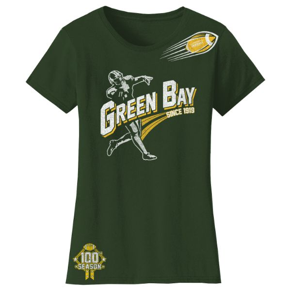 Women's Football Season T-Shirts-Green Bay - Forest Green-S-Daily Steals