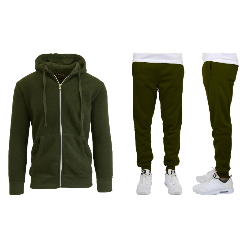 Men's Heavyweight Fleece Jogger and Heavyweight Fleece Hoodie Set-Olive-S-Daily Steals