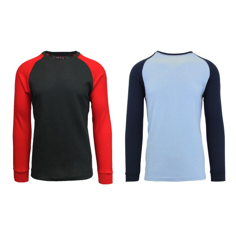 Men's Raglan Thermal Shirt - 2 Pack-Black/Red & Sky Blue/Navy-Small-Daily Steals