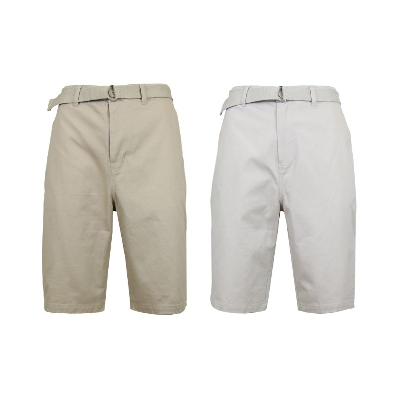 Men's Cotton Chino Shorts with Belt - 2 Pack-Khaki & Sand-32-Daily Steals