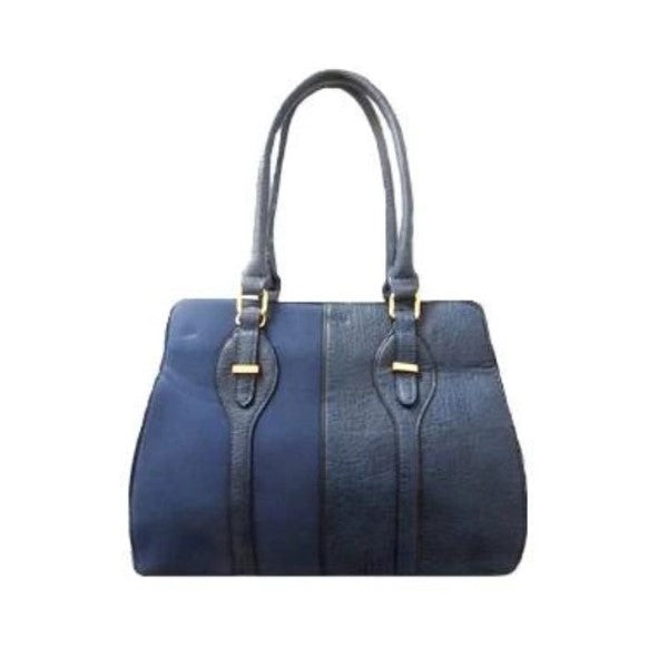 Two Tone Satchel Leather Handbag-Navy-Daily Steals