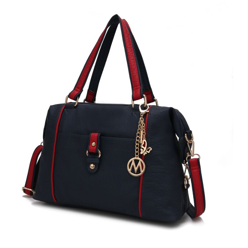 Opal Satchel Handbag by MKF-Navy-Red-Daily Steals