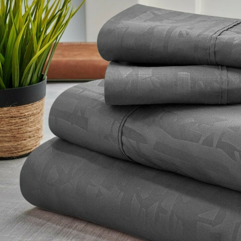 Bamboo 1800 Count Embossed Design 4-Piece Sheet Set-Grey-Twin-Daily Steals