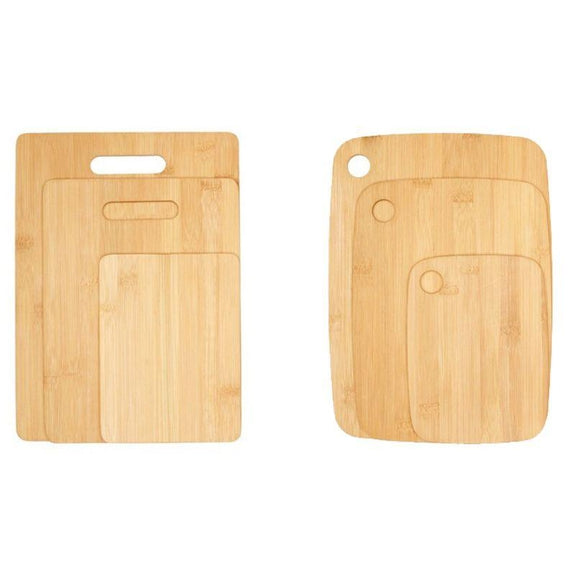 Bamboo Cutting Boards - Round Or Handle-6 Piece - 3 of Each-Daily Steals