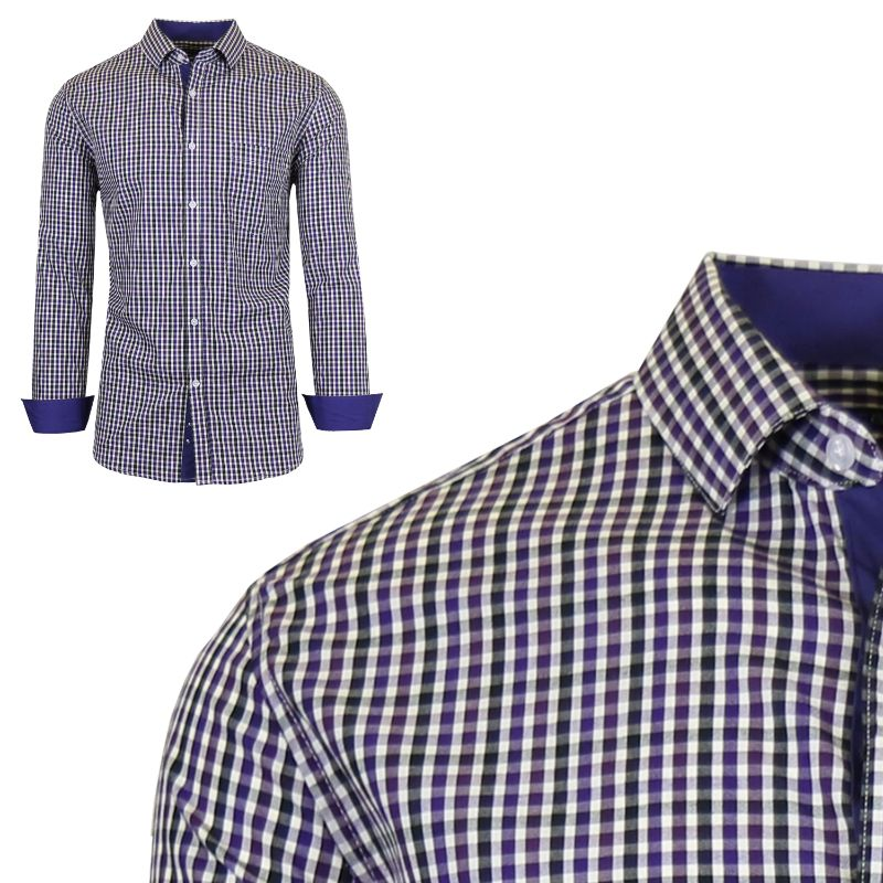 Mens Long Sleeve Slim-Fit Cotton Dress Shirts W/ Chest Pocket-Purple/Black-Medium-Daily Steals