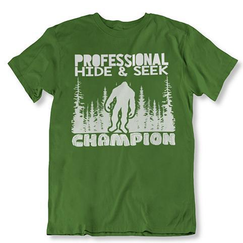 update alt-text with template Daily Steals-Professional Hide and Seek Champion Sasquatch Bigfoot Tshirt-Men's Apparel-Military Green-2XL-