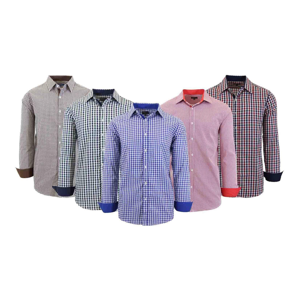 Men's Long Sleeve Slim Fit Gingham Dress Shirts-Daily Steals