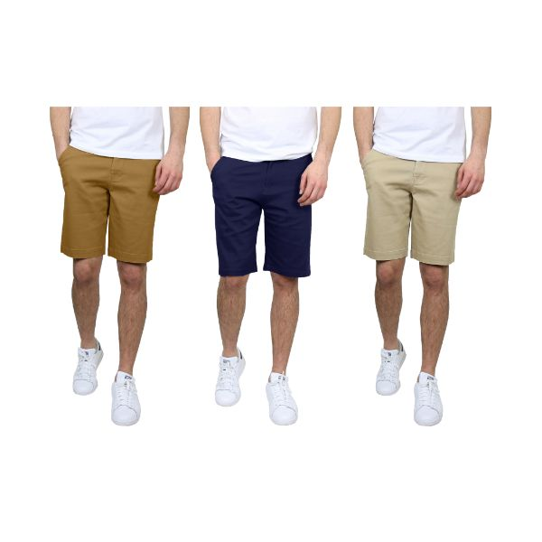 Men's 5-Pocket Flat-Front Stretch Chino Shorts - 3 Pack-Timber & Navy & Khaki-32-Daily Steals