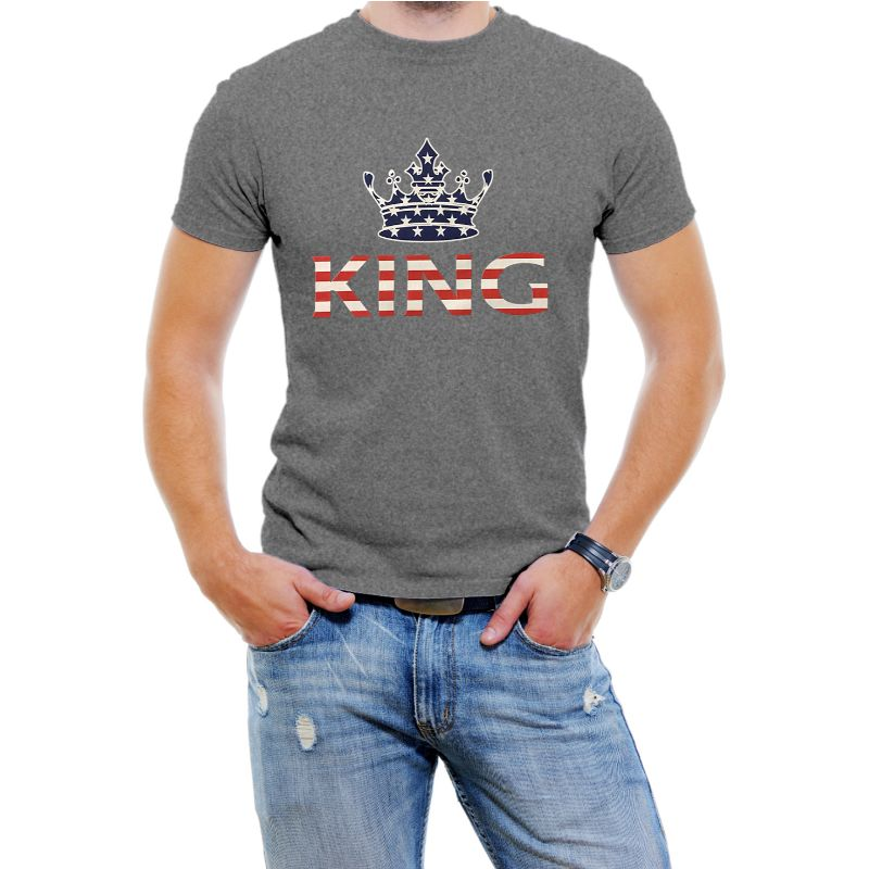 "USA Stars and Stripes ""King"" Men's T-Shirt-Dark Grey-4XL-Daily Steals"