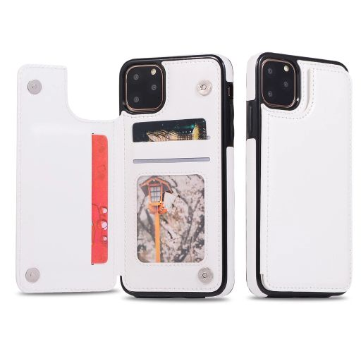 iPM Apple iPhone 11, Pro, Pro Max PU Leather Purse Protective Case-White-iPhone 11-Daily Steals