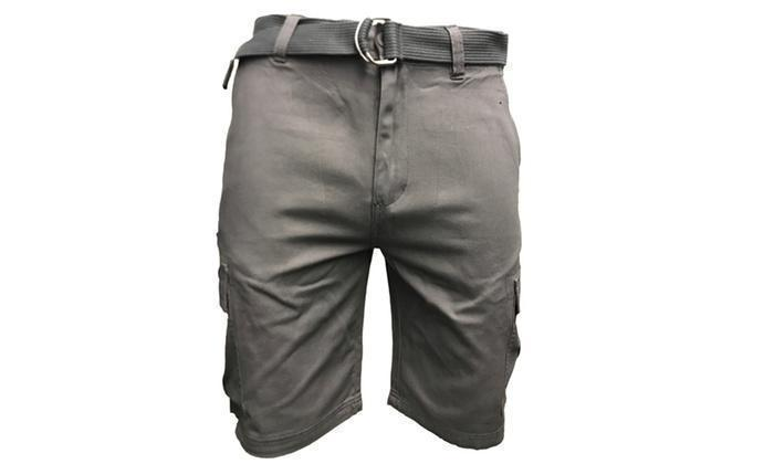 Daily Steals-7 Pocket Men's Cotton Cargo Shorts With Belt-Men's Apparel-Grey-30-