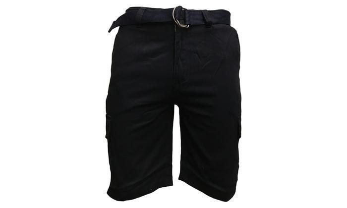 Daily Steals-7 Pocket Men's Cotton Cargo Shorts With Belt-Men's Apparel-Navy-30-